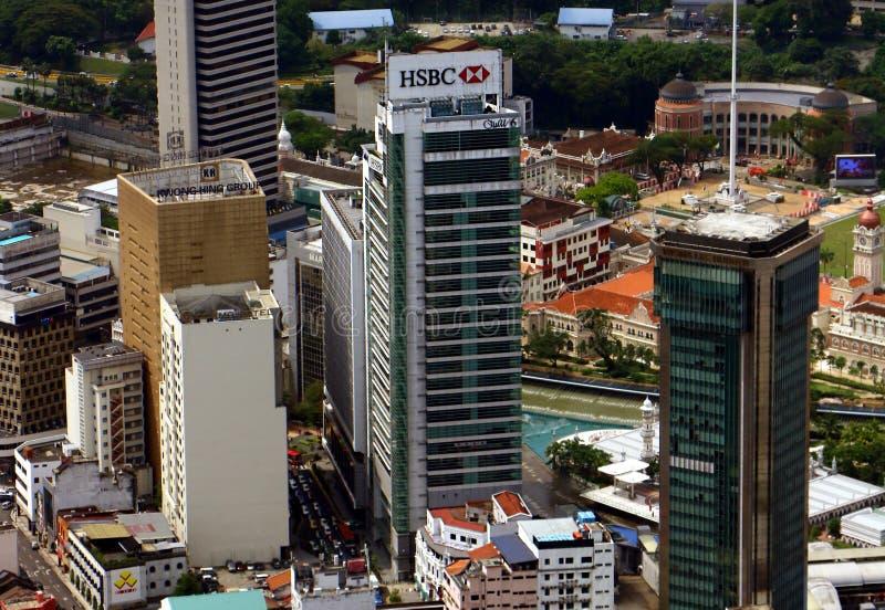 De HSBC-Bank in Leboh Ampang, Kuala Lumpur, Maleisië wordt gevestigd dat HSBC, is één van stock foto