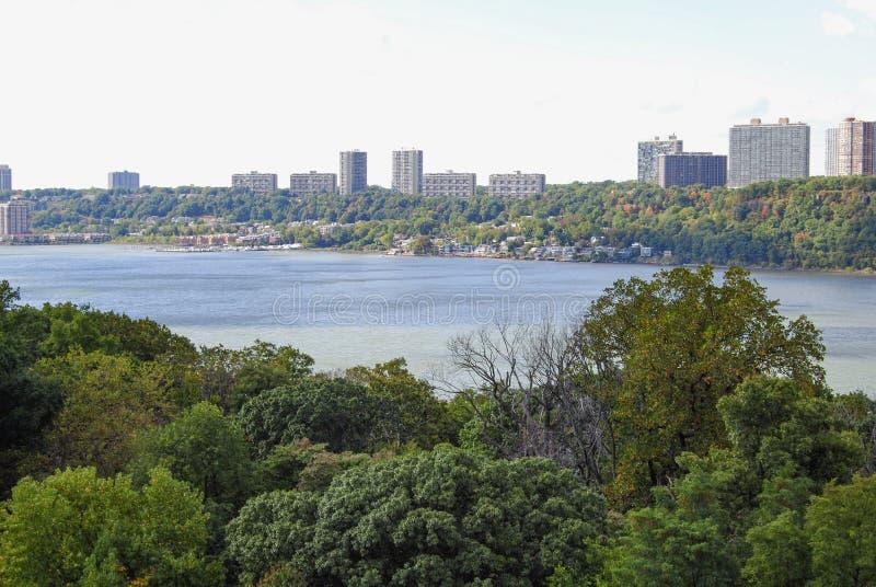 De Hudson rivier vanaf de top van de George Washington Bridge royalty-vrije stock afbeelding