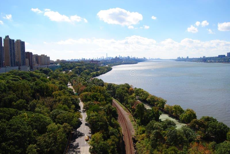 De Hudson rivier vanaf de top van de George Washington Bridge royalty-vrije stock foto