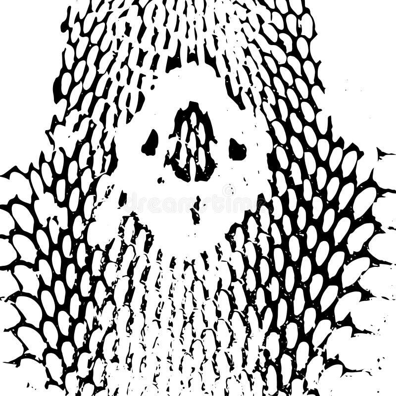 De huid abstracte textuur van de cobra hoofdslang zwarte  vector illustratie