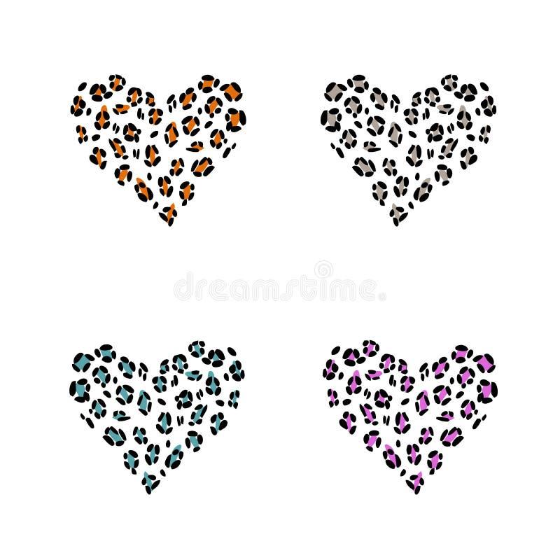 De huid van de luipaarddruk in de vorm van een hart royalty-vrije illustratie