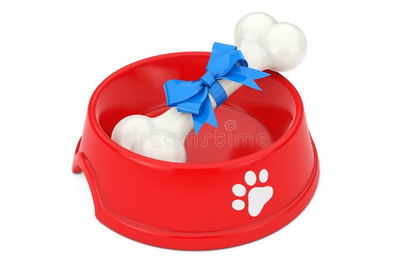 De huidige die Hond kauwt Been in Blauw Giftlint wordt verpakt in Rood Plastiek vector illustratie