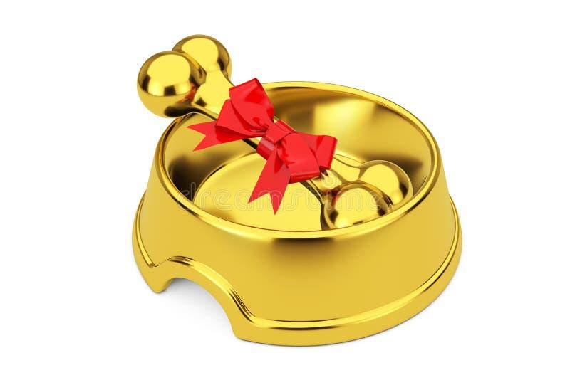 De huidige Gouden die Hond kauwt Been in Rood Giftlint wordt verpakt in Gouden Kom voor Hond het 3d teruggeven stock afbeelding