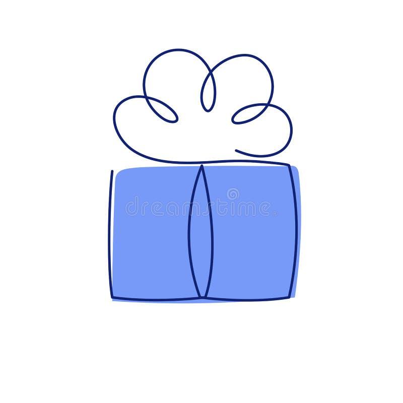 De huidige vectorillustratie van de doos ononderbroken editable lijn met blauwe omslag vector illustratie