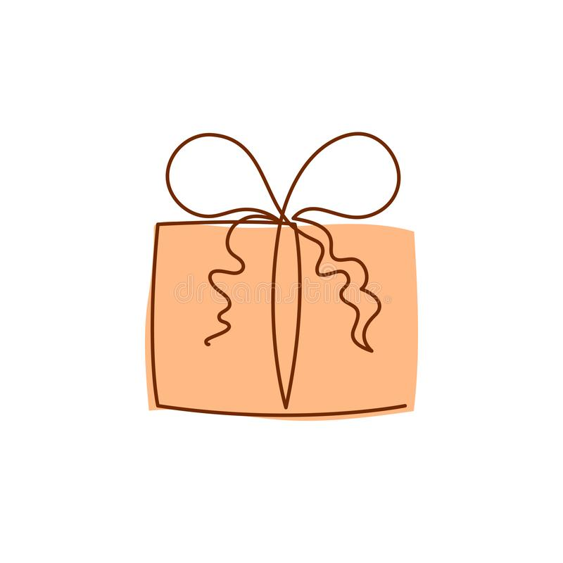 De huidige vectorillustratie van de doos ononderbroken editable lijn met oranje omslag royalty-vrije illustratie