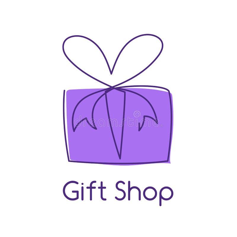 De huidige vectorillustratie van de doos ononderbroken editable lijn met violette omslag vector illustratie