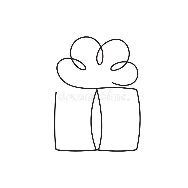 De huidige vectorillustratie van de doos ononderbroken editable lijn - verpakt verrassingspakket met lint en boog stock illustratie
