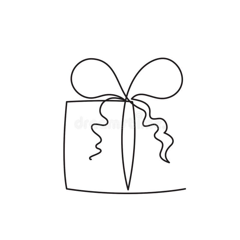 De huidige vectorillustratie van de doos ononderbroken editable lijn - verpakt verrassingspakket met lint en boog vector illustratie