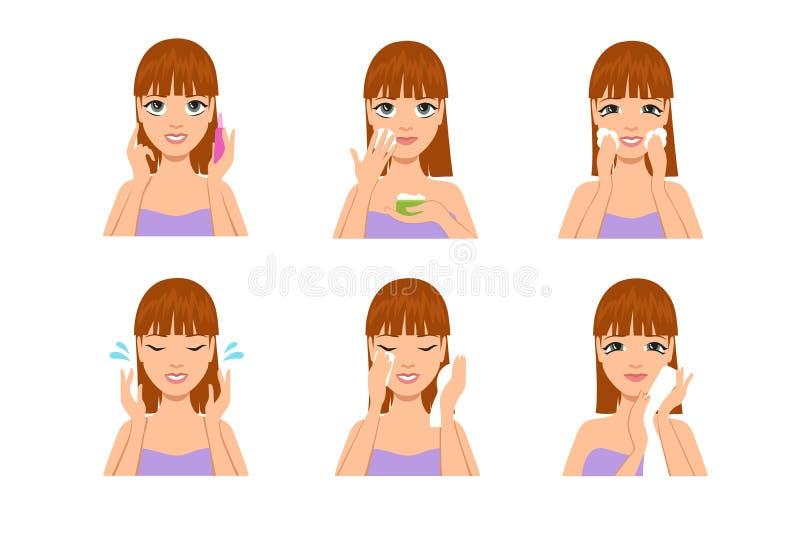 De huidzorg van de vrouw Het schoonmakende en wassende gezicht van het beeldverhaal mooie meisje met water en zeep na make-up Sch stock illustratie
