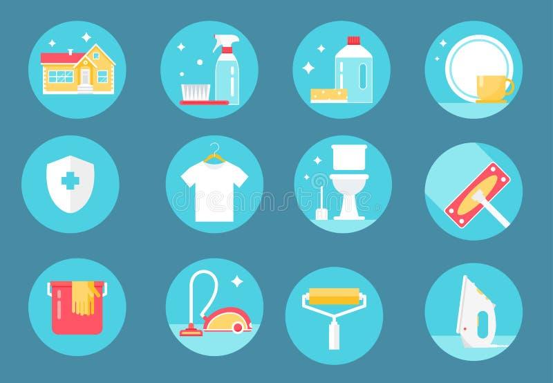De huis Schoonmakende Dienst, Agenten en Hulpmiddelenpictogrammen Vlak Ontwerp stock illustratie