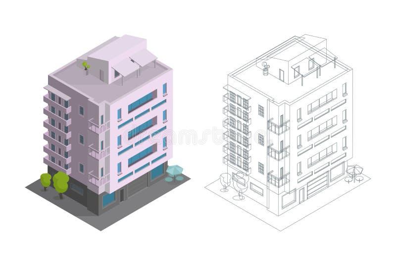 De huis in de stadbouw De terrasvormige veelvoudige vloeren van het huisvestings moderne rijtjeshuis Architectuur de met drie ver vector illustratie