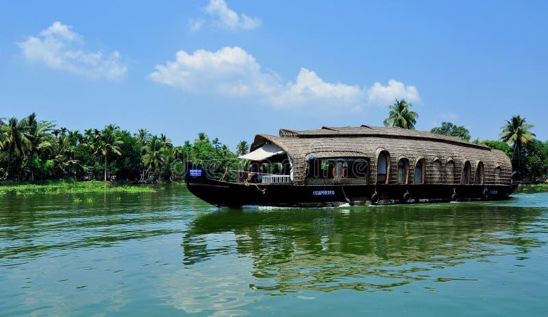 De huisboot in alleppey, alleppey is een goden eigen land stock fotografie