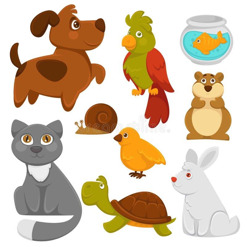 De huisdieren vector vlakke pictogrammen van beeldverhaalhuisdieren vector illustratie