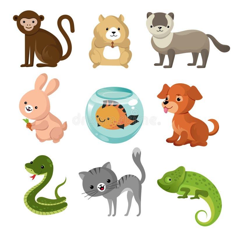 De huisdieren vectorinzameling van het beeldverhaal leuke huis stock illustratie