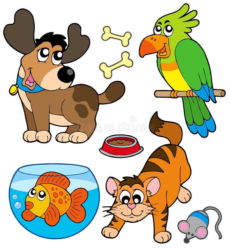 De huisdiereninzameling van het beeldverhaal vector illustratie