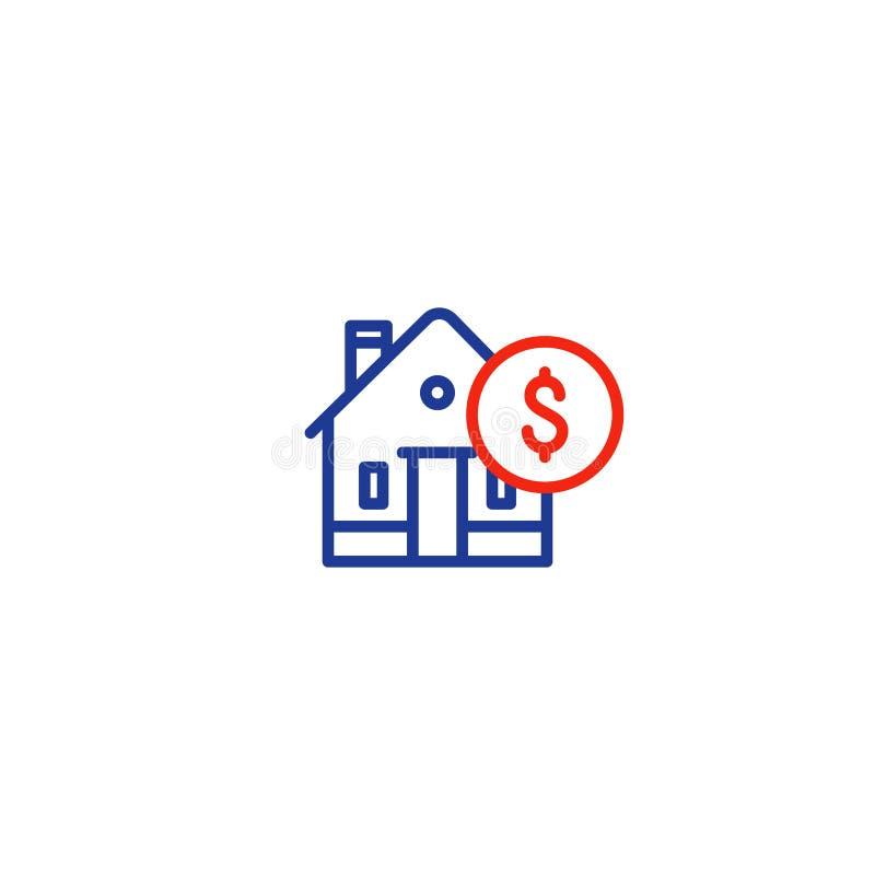 De huishoudenuitgaven, hypotheekbetaling, het pictogram van de huislijn, investeren geld, onroerend goed vector illustratie