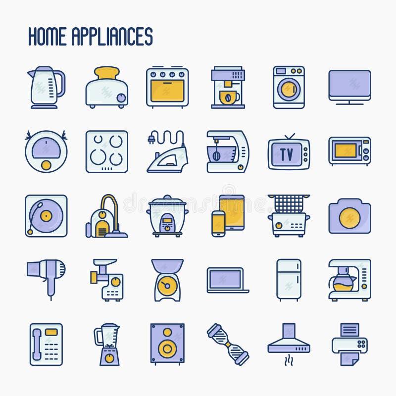 De huistoestellen verdunnen geplaatste lijnpictogrammen vector illustratie