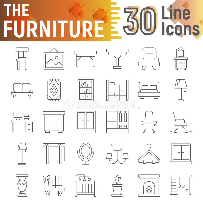De huistoestellen verdunnen de reeks van het lijnpictogram, de inzameling van keukengereisymbolen, vectorschetsen, embleemillustr vector illustratie