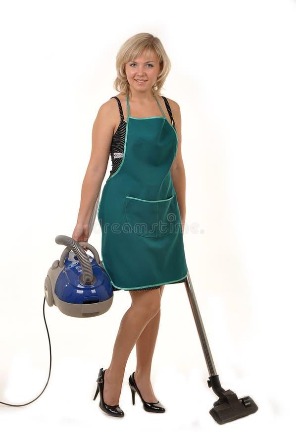 De huisvrouw met vacuümcleaner2 royalty-vrije stock foto