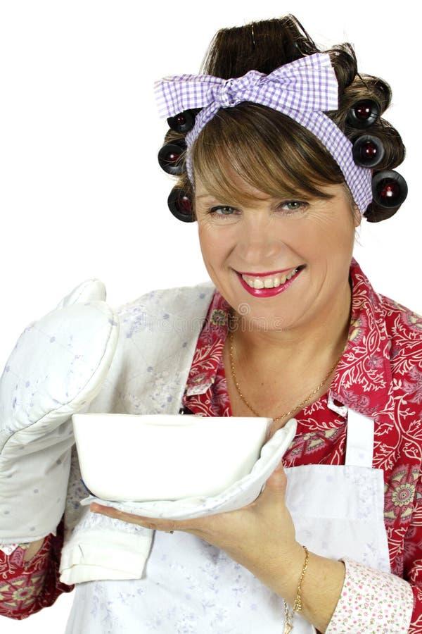 De Huisvrouw van de Schotel van het baksel royalty-vrije stock foto's