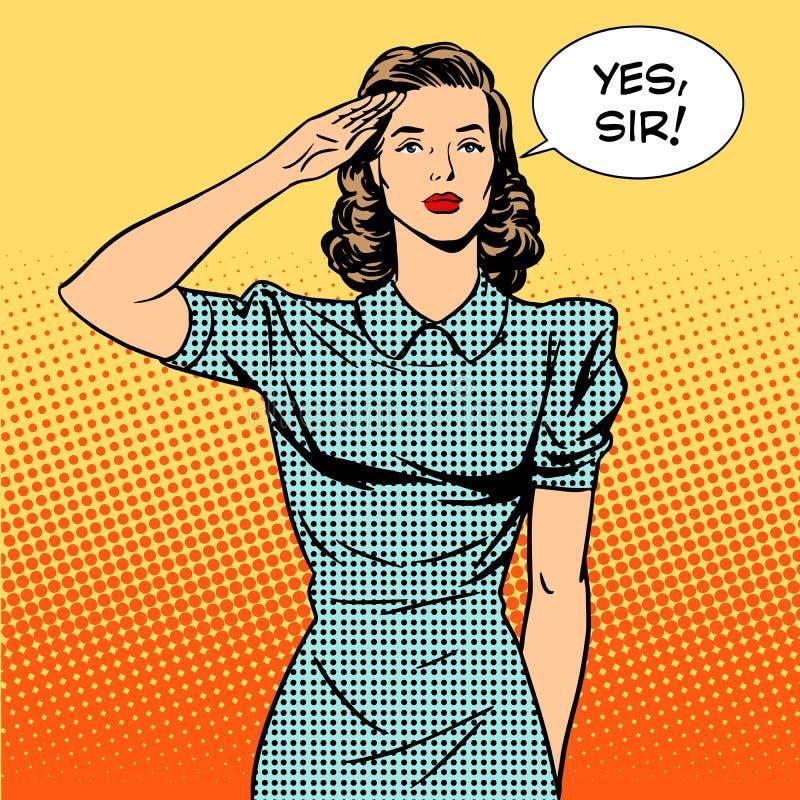 De huisvrouwenconcept van de vrouwenmilitair feminisme en stock illustratie