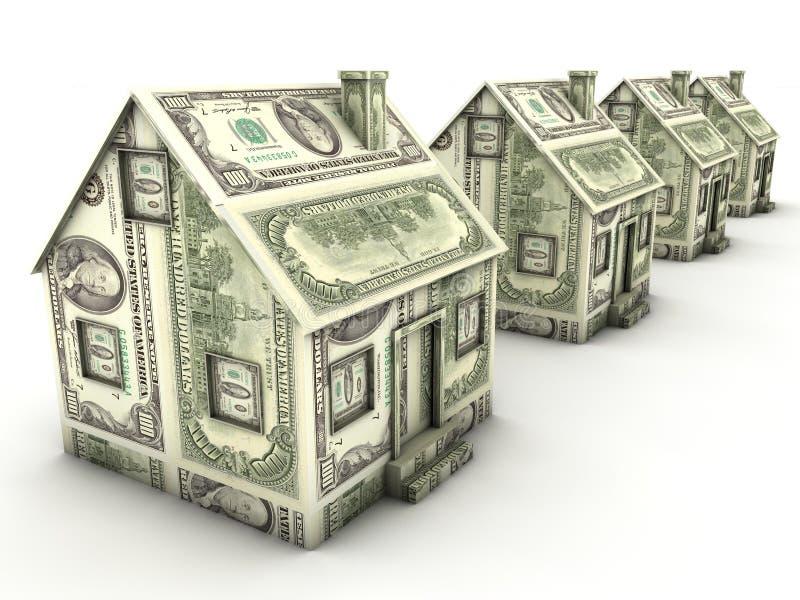 De huizen van de dollar in een rij royalty-vrije illustratie