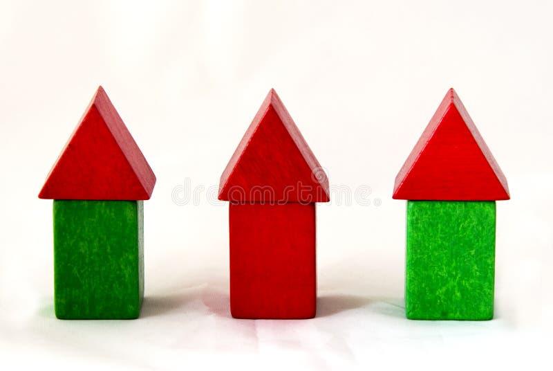 De huizen van de houtsnede stock foto
