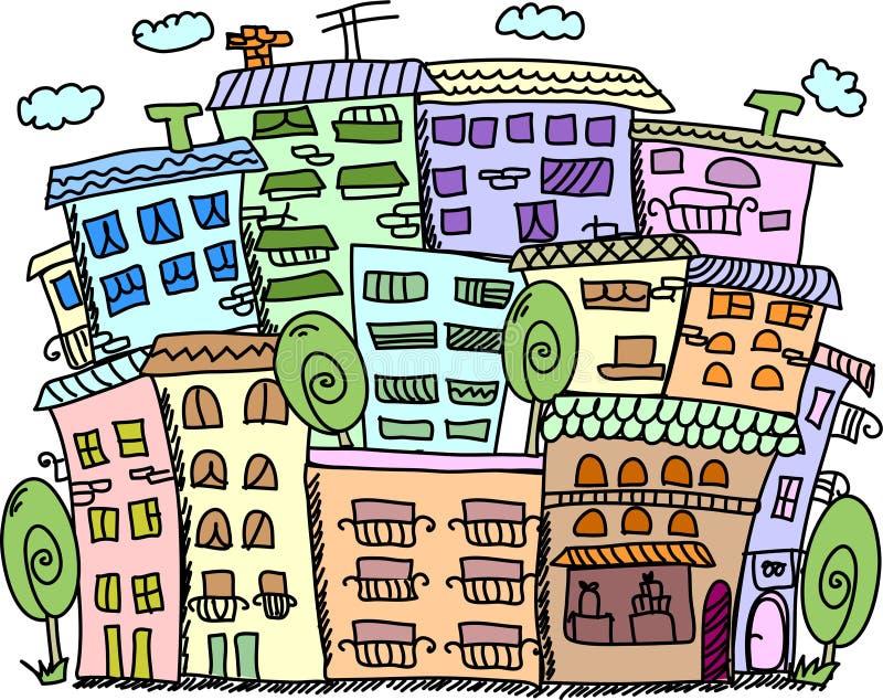 De huizen van de kunst voor uw ontwerp, vector stock illustratie