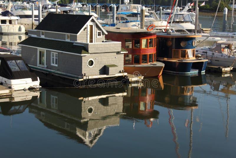 De Huizen van de vlotter, de Haven van de Steenkool, Vancouver stock foto's