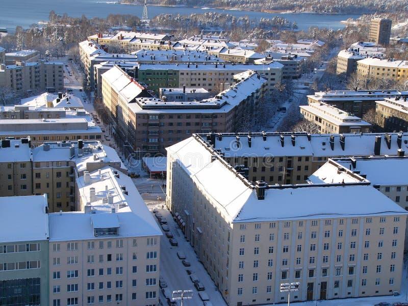 De huizen van de winter stock foto