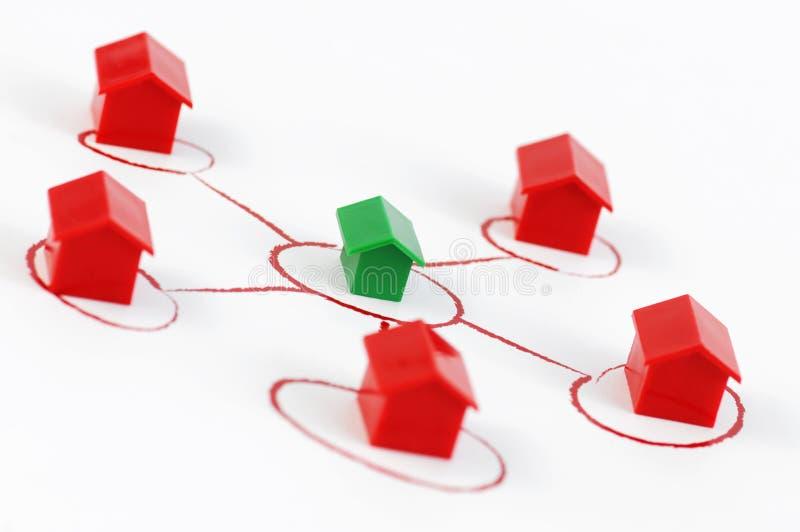 De huizen van het netwerk stock afbeelding