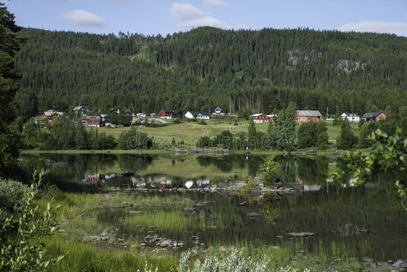 De huizen van Noorwegen bij de fjord royalty-vrije stock foto