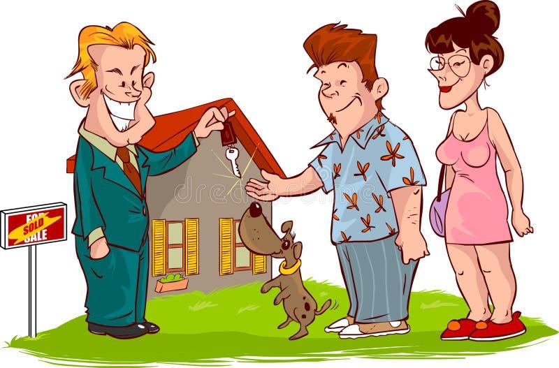 De huizen van onroerende goederen?, Vlakten voor verkoop of voor huur vector illustratie