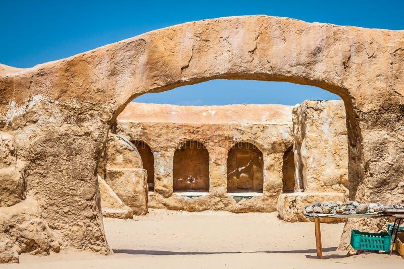 De huizen van planeet Tatouine - Star Wars-filmreeks, Nefta Tunis stock afbeeldingen