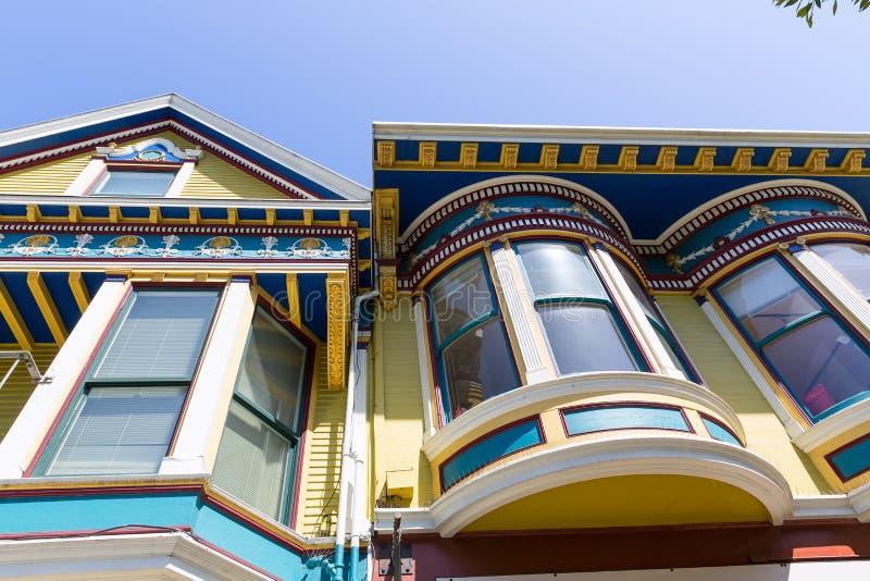 De huizen van San Francisco Victorian in Haight Ashbury Californië stock afbeeldingen