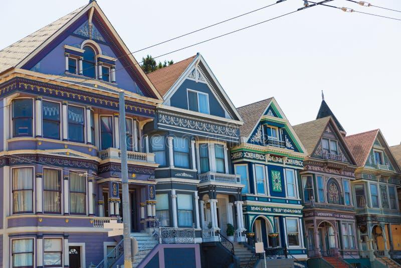 De huizen van San Francisco Victorian in Haight Ashbury Californië stock foto's