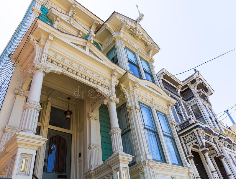 De huizen van San Francisco Victorian in Vreedzame Hoogten Californië stock fotografie