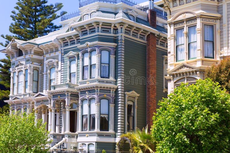De huizen van San Francisco Victorian in Vreedzame Hoogten Californië royalty-vrije stock afbeelding