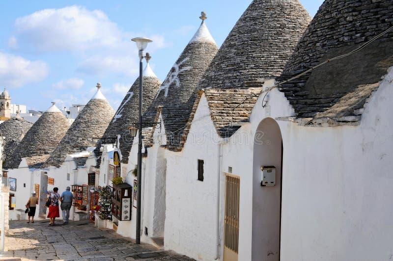 De huizen van Trulli in Alberobello stock afbeelding