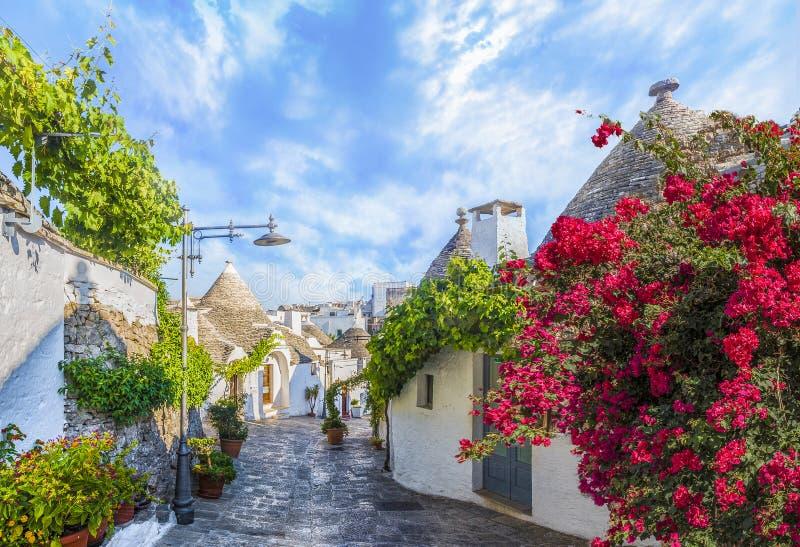 De huizen van Trulli in Alberobello royalty-vrije stock afbeelding
