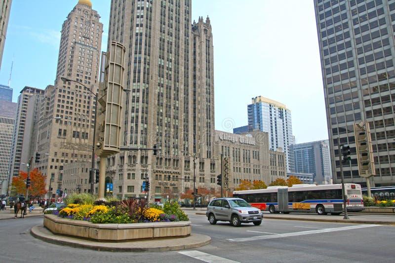 De Hulde die van Chicago op de weg van Michigan in Chicago voortbouwen stock foto's