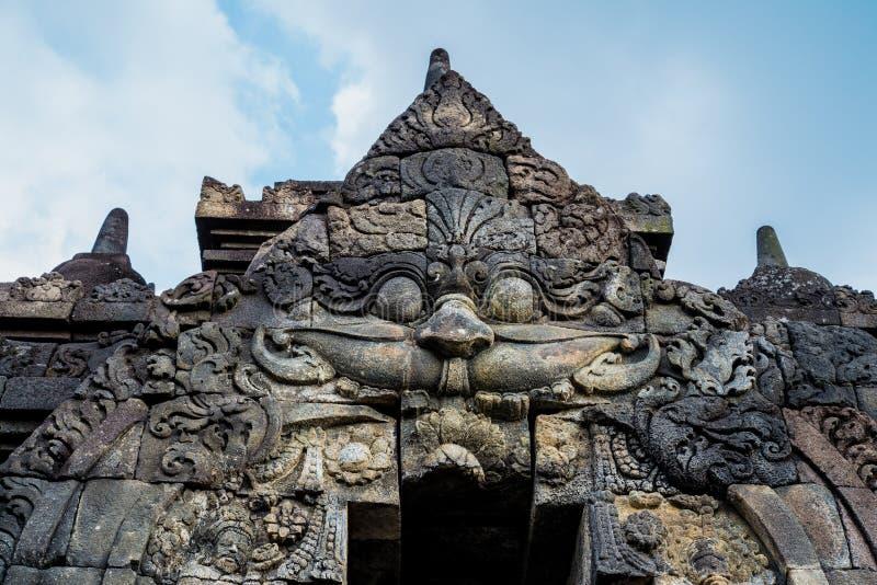 De Hulp van de Borobudurtempel, bij Borobudur-Tempel Magelang Centraal Java Indonesia stock fotografie