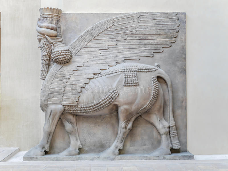 De Hulp van Courkhorsabad, Assyria - Louvremuseum stock afbeeldingen