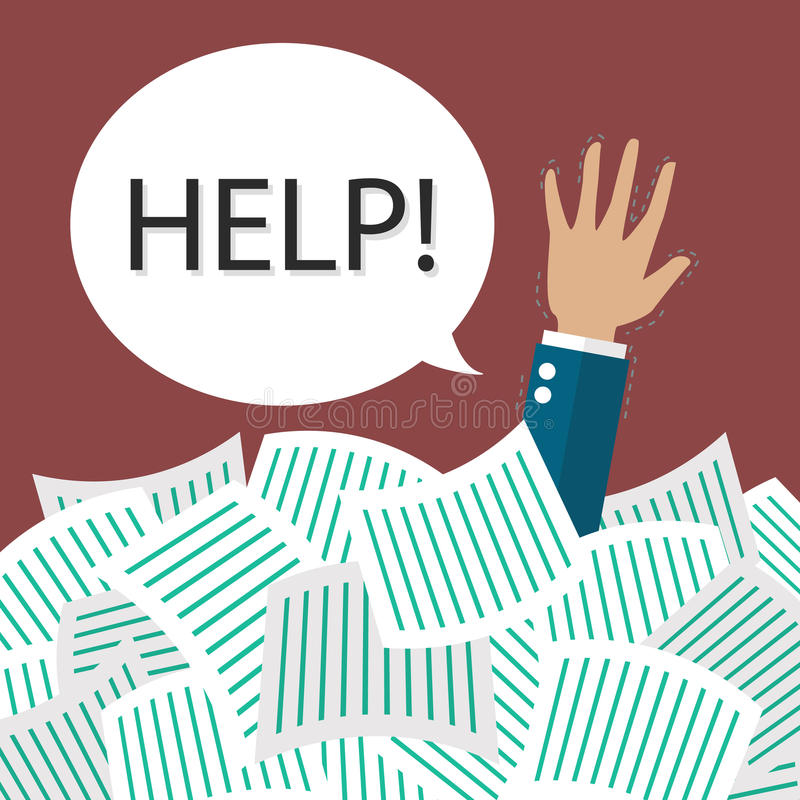 De hulp van de zakenmanbehoefte in het kader van heel wat documenten vector illustratie
