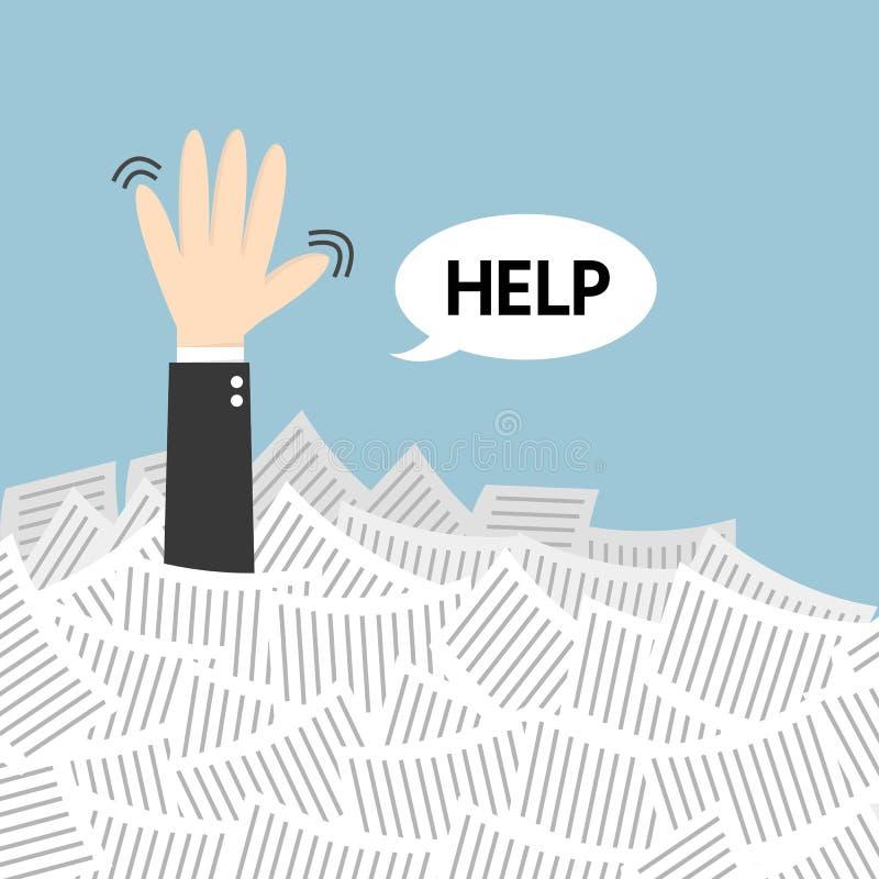 De hulp van de zakenmanbehoefte in het kader van heel wat Witboek royalty-vrije illustratie