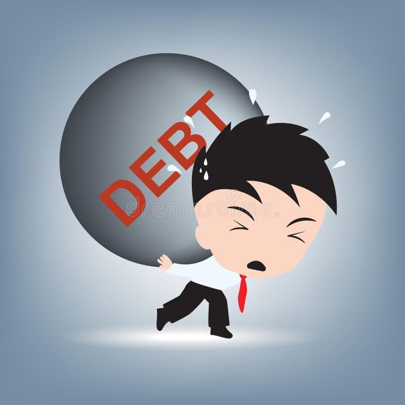 De hulp van de zakenmanbehoefte met schuldenlast op zijn schouder, de financiële vector van de conceptenillustratie in vlak ontwe vector illustratie