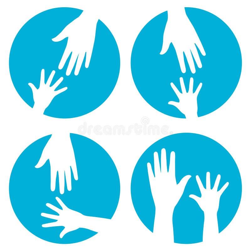 De hulp van handen - pictogramreeks stock illustratie