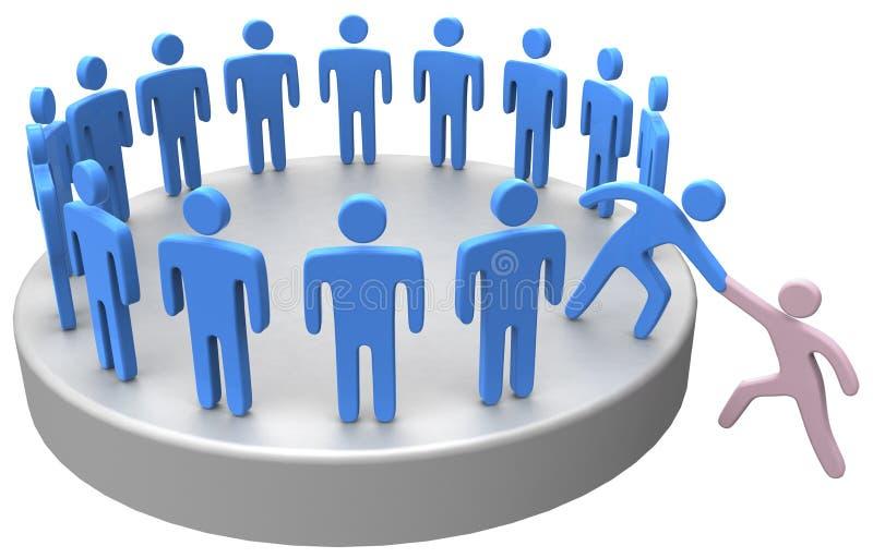 De hulp wordt lid omhoog van sociale bedrijfsmensen royalty-vrije illustratie