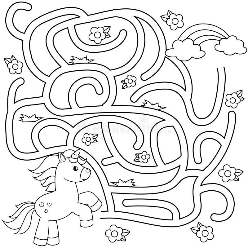 De hulpeenhoorn vindt weg aan regenboog labyrint Het spel van het labyrint voor jonge geitjes Zwart-witte vectorillustratie voor  vector illustratie