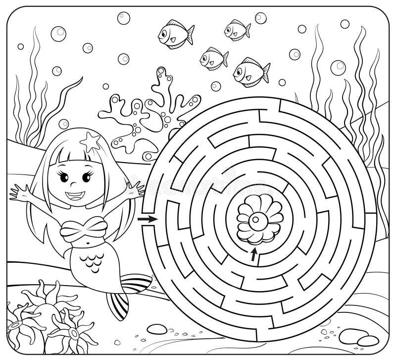 De hulpmeermin vindt weg aan parel labyrint Het spel van het labyrint voor jonge geitjes Kleurende pagina royalty-vrije illustratie